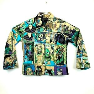 Mirror Image Picasso Artistic Button Up Jacket